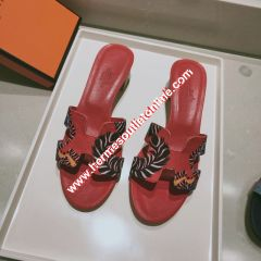 Hermes Oasis Sandal Coquelicot Cotton Canvas In Red