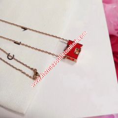 Hermes Cage D'H Pendant Necklace In Red