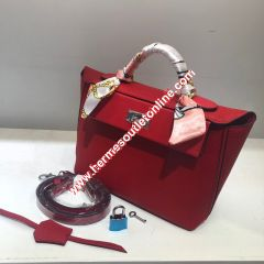 Hermes Taurillon Maurice Bag Calfskin Palladium Hardware In Red