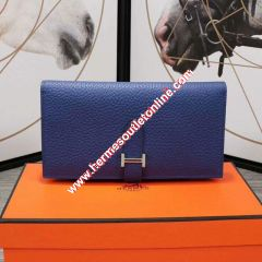 Hermes Bearn Wallet Togo Leather Palladium Hardware In Blue