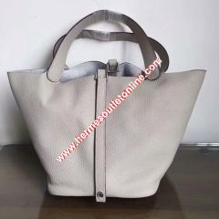 Hermes Picotin Lock Bag Clemence Leather Palladium Hardware In Grey