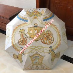 Hermes Carriage Print Umbrella In White