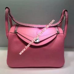 Hermes Lindy Bag Clemence Leather Palladium Hardware In Pink