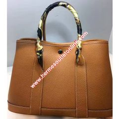 Hermes Garden Party Bag Togo Leather In Brown
