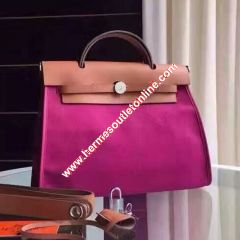 Hermes Herbag Bag Canvas Palladium Hardware In Purple