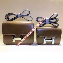 Hermes Constance Bag Box Leather Gold Hardware In Brown