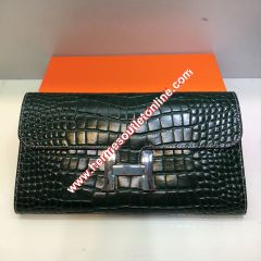 Hermes Constance Wallet Alligator Leather Palladium Hardware In Dark Green