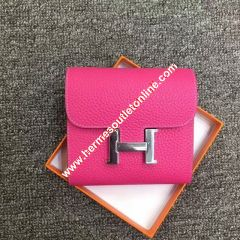 Hermes Constance Compact Wallet Togo Leather Palladium Hardware In Rose