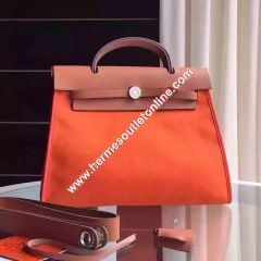 Hermes Herbag Bag Canvas Palladium Hardware In Orange