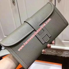 Hermes Jige Elan Clutch Epsom Leather In Grey