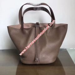 Hermes Picotin Lock Bag Clemence Leather Palladium Hardware In Coffee
