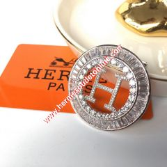 Hermes H Hollow Earring In Silver