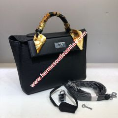 Hermes Taurillon Maurice Bag Calfskin Palladium Hardware In Black