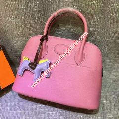 Hermes Bolide Bag Togo Leather Palladium Hardware In Pink