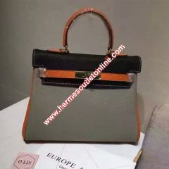 Hermes Kelly Bag Color Blocking Clemence Leather Gold Hardware In Grey