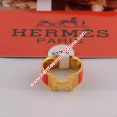 Hermes Clic H Ring Gold In Red