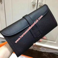 Hermes Jige Elan Clutch Epsom Leather In Black