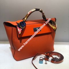 Hermes Taurillon Maurice Bag Calfskin Palladium Hardware In Orange