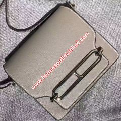 Hermes Roulis Bag Calfskin Leather Palladium Hardware In Grey