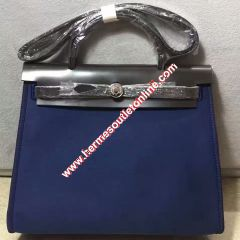 Hermes Herbag Bag Canvas Palladium Hardware In Blue