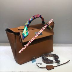 Hermes Taurillon Maurice Bag Calfskin Palladium Hardware In Brown