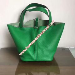 Hermes Picotin Lock Bag Clemence Leather Palladium Hardware In Green