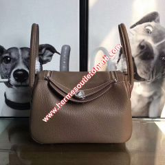 Hermes Lindy Bag Clemence Leather Palladium Hardware In Coffee