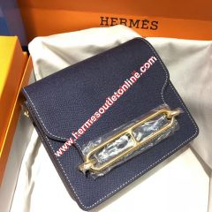 Hermes Roulis Bag Epsom Leather Gold Hardware In Navy Blue