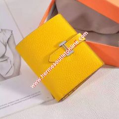 Hermes Bearn Compact Wallet Togo Leather Palladium Hardware In Yellow