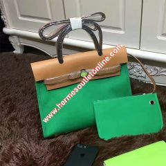 Hermes Herbag Bag Canvas Palladium Hardware In Green