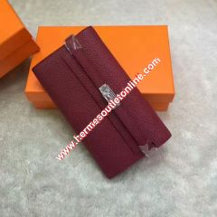Hermes Kelly Wallet Epsom Leather Palladium Hardware In Burgundy