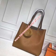 Hermes Double Sens Bag Clemence Leather In Brown