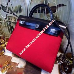 Hermes Herbag Bag Canvas Palladium Hardware In Red