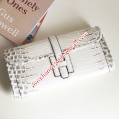 Hermes Jige Elan Clutch Alligator Leather In White