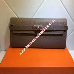 Hermes Kelly Wallet Epsom Leather Gold Hardware In Grey
