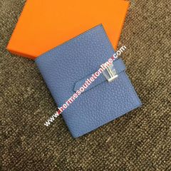 Hermes Bearn Compact Wallet Togo Leather Palladium Hardware In Sky Blue