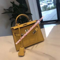 Hermes Kelly II Mini Bag Alligator Leather Gold Hardware In Yellow