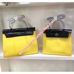Hermes Herbag Bag Canvas Palladium Hardware In Yellow