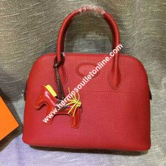 Hermes Bolide Bag Togo Leather Palladium Hardware In Red