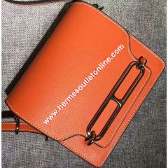 Hermes Roulis Bag Calfskin Leather Palladium Hardware In Orange