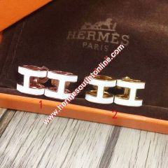 Hermes Pop H Earrings In White