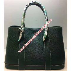 Hermes Garden Party Bag Togo Leather In Green