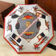 Hermes Carriage Pattern Umbrella In White