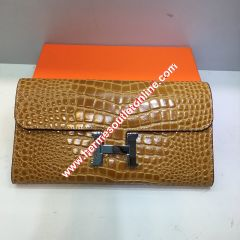 Hermes Constance Wallet Alligator Leather Palladium Hardware In Brown