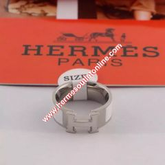 Hermes Clic H Ring Silver In White