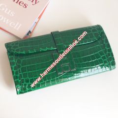 Hermes Jige Elan Clutch Alligator Leather In Green