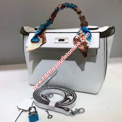 Hermes Taurillon Maurice Bag Calfskin Palladium Hardware In White