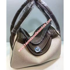 Hermes Lindy Bag Canvas Palladium Hardware In Grey
