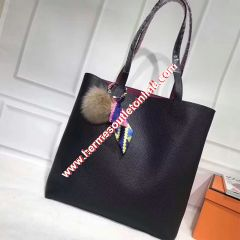 Hermes Double Sens Bag Clemence Leather In Black