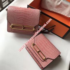 Hermes Roulis Bag Alligator Leather Gold Hardware In Pink